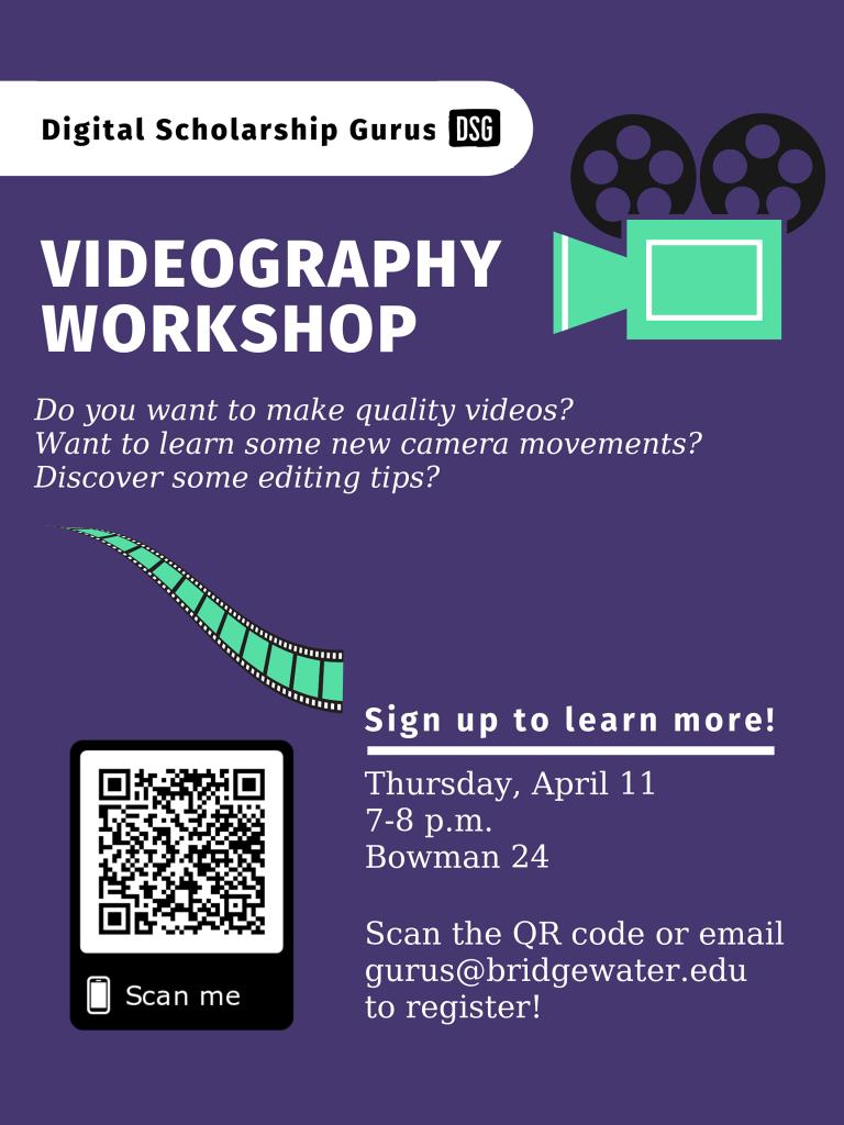 Poster of videography workshop