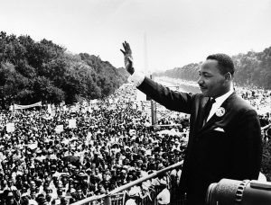 """Dr. Martin Luther King Jr. addresses a crowd from the steps of the Lincoln Memorial where he delivered his famous, """"I Have a Dream,"""" speech during the Aug. 28, 1963, march on Washington, D.C."""