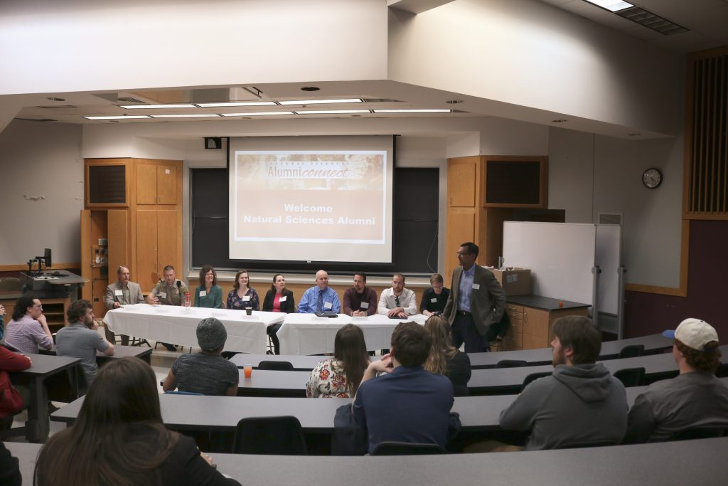 Photo of students listening to speakers from the Natural Sciences Alumni Panel