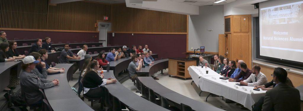 students at a Natural Sciences Alumni Panel