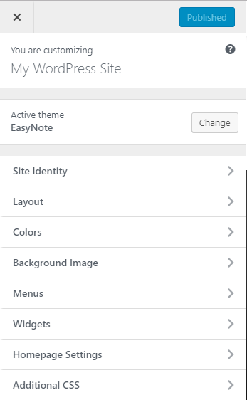 EasyNote Theme Setting Panel