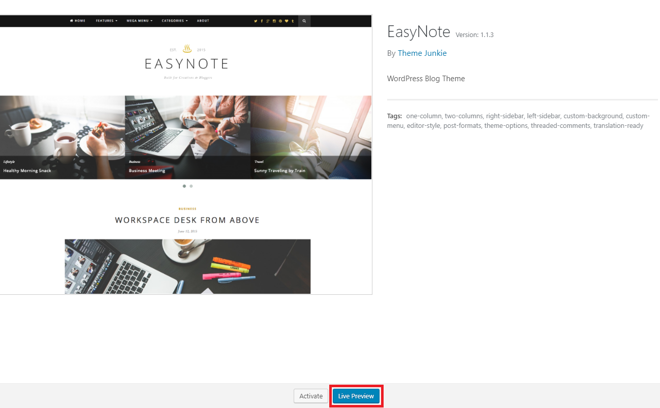 Screenshot of EasyNotetheme