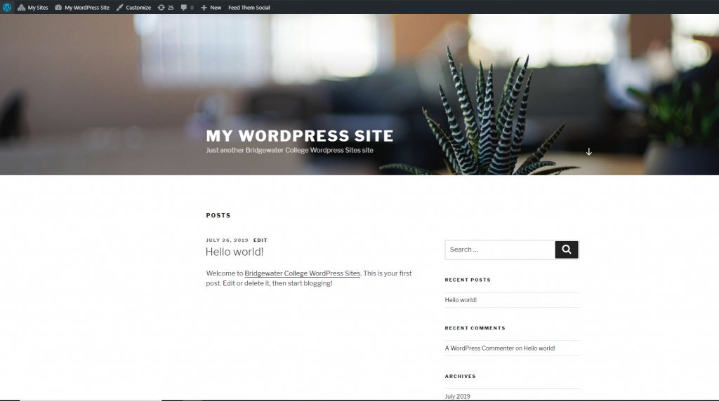 Screenshot previewing WordPress site