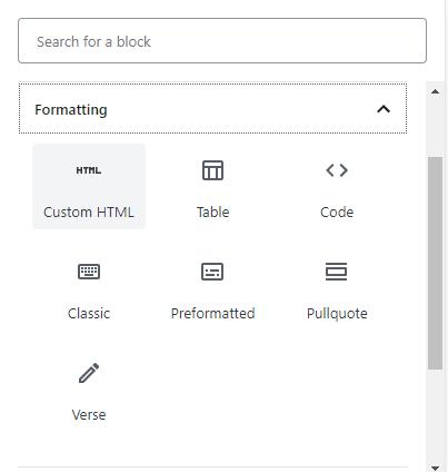 Screenshot of Custom HTML block in WordPress