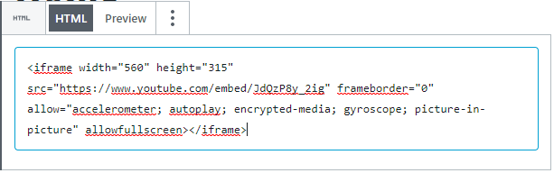 Screenshot of HTML embed code in WordPress