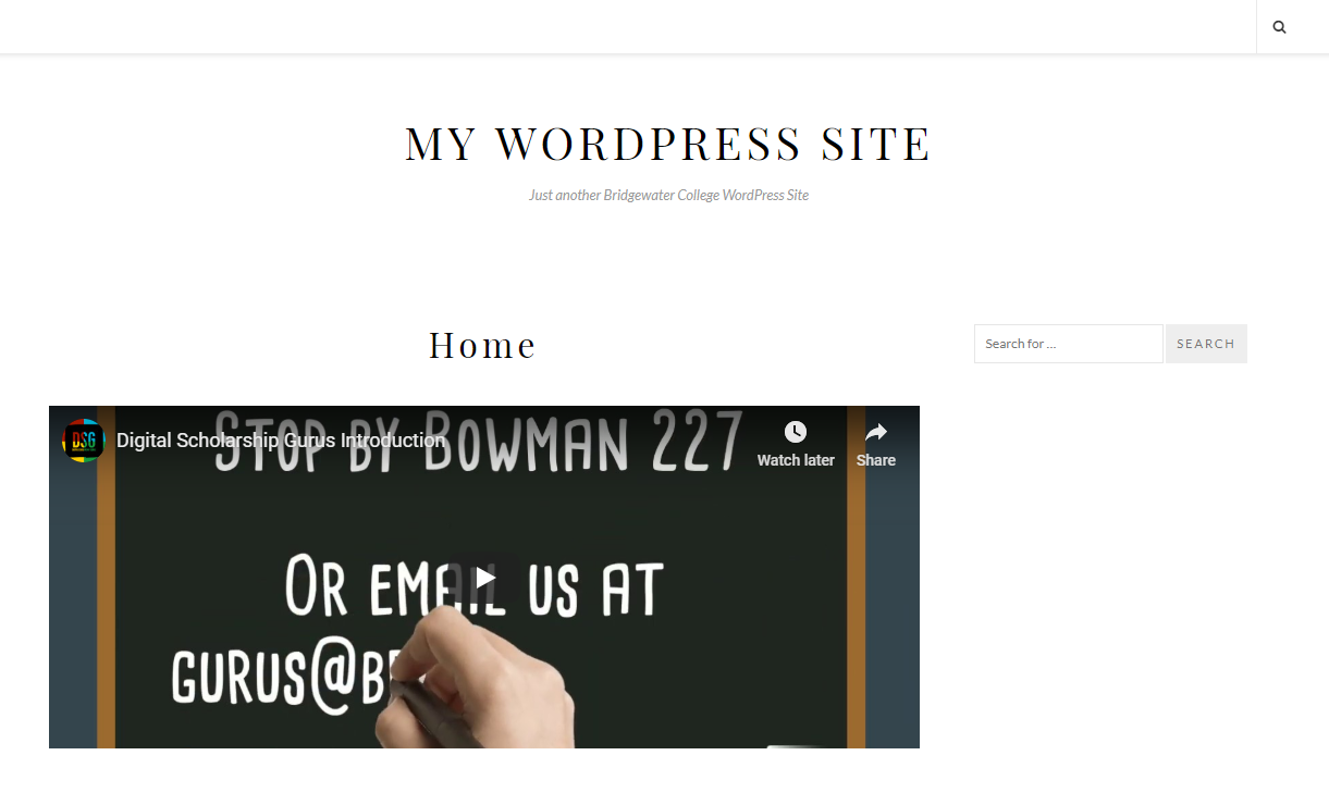 Screenshot of WordPress site without a menu