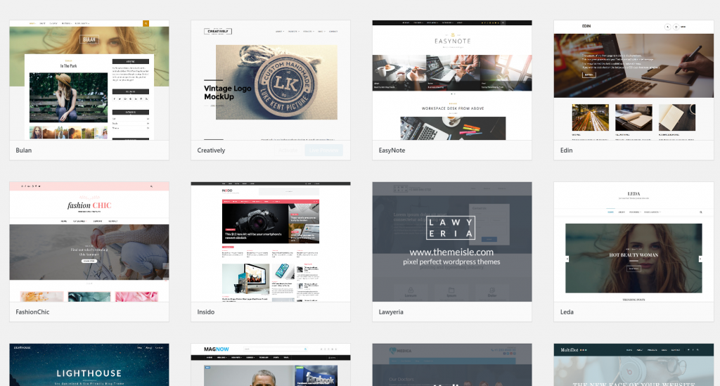 Screenshot of WordPress themes