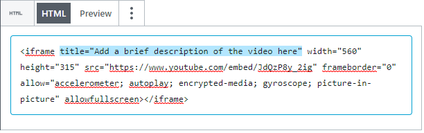 Screenshot of adding a title to a video